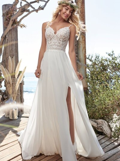Chiffon V-neck Sheath Wedding Dress. Hot dang-soft and dreamy makes a major statement in this V-neck chiffon sheath wedding dress. (Plus it's light and breathable for all kinds of weather.