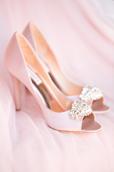 Blush Badgley Mischka Bridal Shoes Scottsdale, Arizona | Amy & Jordan Photography
