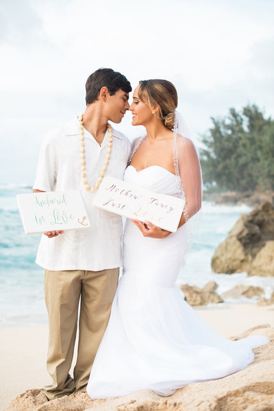 Coastal Beach Wedding with Bride and Groom