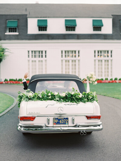just married classic car at waverley country club  wedding