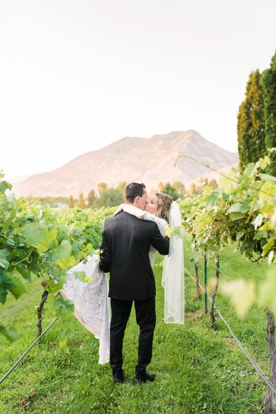 Bride and groom in the vineyards at Wadley Farms Utah