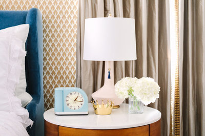 Modern nightstand accessorizing and styling ideas | Los Angeles Interior Design