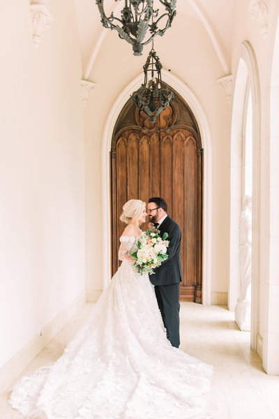 bride and groom romantic portraits at Chateau Cocomar in Houston