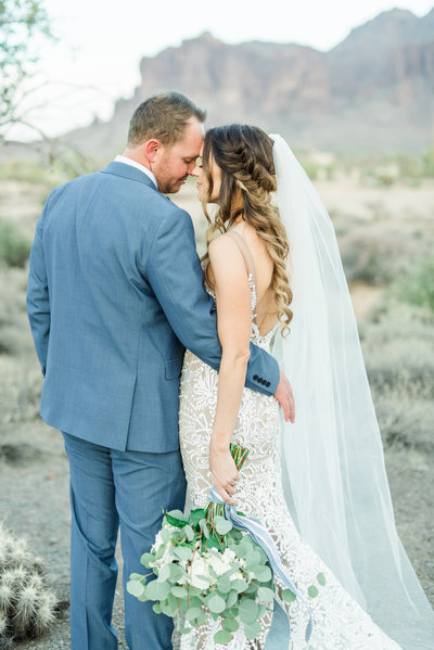 Bride and Groom in Arizona desert