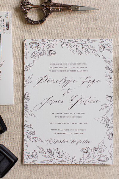 Bohemian Style Floral Sketched Wedding Invitations