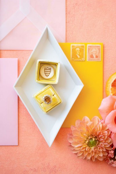 Pink and yellow invitations suite with flowers