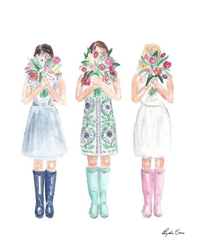 girls holding bunches of tulips fashion illustration spring