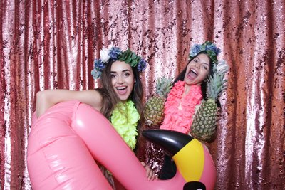 rose shiny backdrop and two girls holding pineapples with a flamingo for a photo