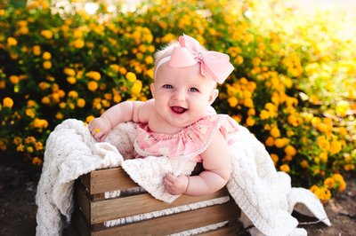RENEE STENGEL Photography | Charlotte Portrait and Underwater Photographer |  Milestone 6 Month Baby Girl in Pink with Yellow Wildflowers