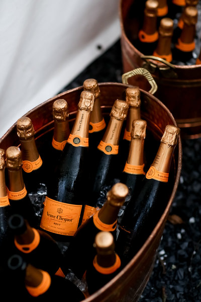 Veuve Clicquot Champagne served at a wedding toast