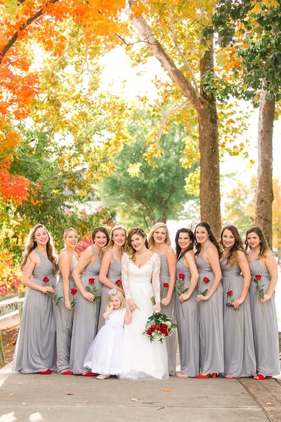 Fall wedding bridesmaids grey and red fall leaves