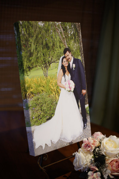 Wedding canvas print on tabletop. By Ross Photography, Trinidad, W.I..