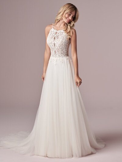 Halter Neck Sheath Wedding Dress. You have lovely shoulders and a boho soul. This halter-neck sheath wedding dress is designed to complement both.