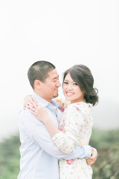 Land's End Trail engagement photo, foggy San Francisco coastal lifestyle,  fine art wedding photographers, by Evonne and Darren