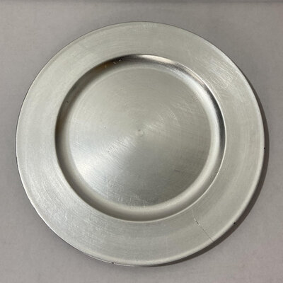 silver round charger