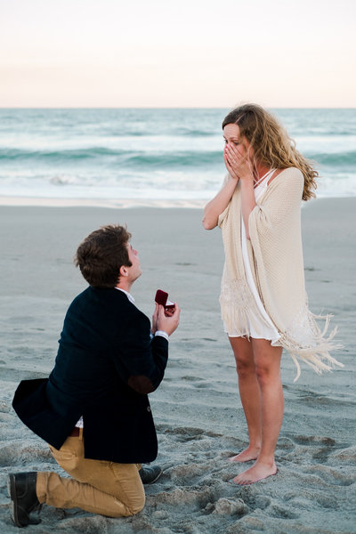 surprise proposal on Cocoa Beach in Florida