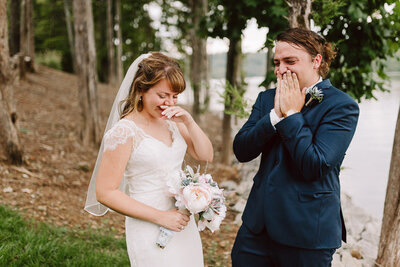 candid emotional moment between bride and her brother at tennessee lakehouse backyard wedding