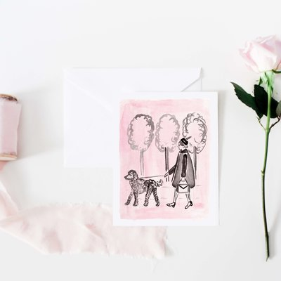 pink and black girl and poodle notecard