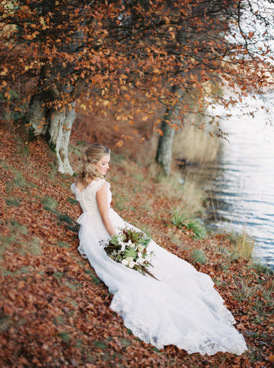 Scotland Bride on Shore of Loch in the Scottish Highlands