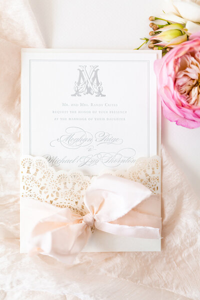 laser cut letterpress wedding invitation silk ribbon vintage stamps 3