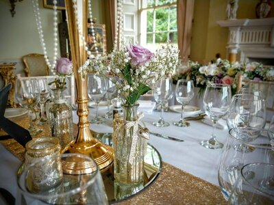 Gold candelabra sequin pearl wedding 10