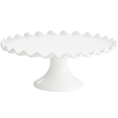 ceramic white pedestal scalloped