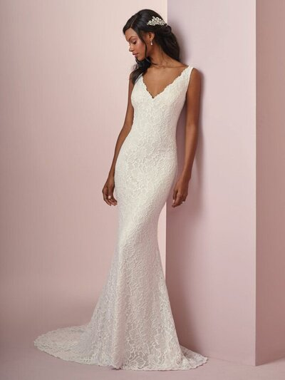 Boho Lace Sheath Wedding Dress. Jersey lining is an exceptional-magical-delight in this boho lace sheath wedding dress. The best thing to wear for 8+ hours, we promise.