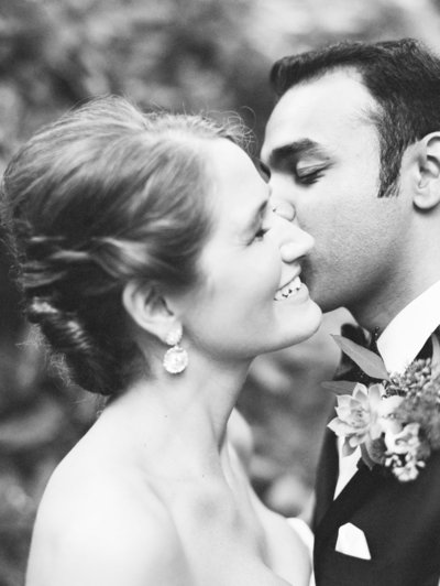 Black & White Portrait of Bride and Groom at Old Edwards Inn