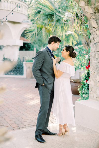 bride and groom at villa antonia in a traditional mexican wedding dress by atlanta wedding photographer lane albers photography