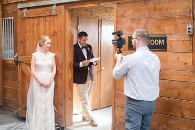 virginia wedding videographer filming bride and groom at hermitage hill farm and stables