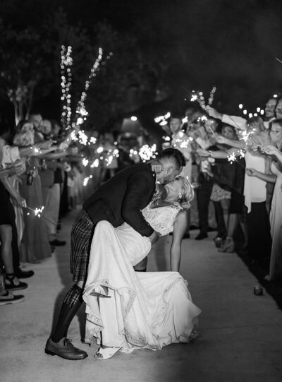 Scottish wedding bride and groom kiss during sparkler exit