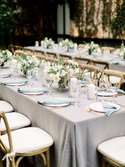 White and green tuscan inspired long reception tables at the Foundry in Long Island City.