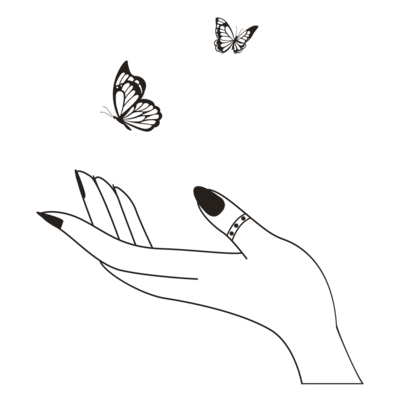 hand and butterflies illustration