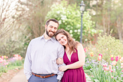 A photo of a couple at their engagement session in Athens Georgia.