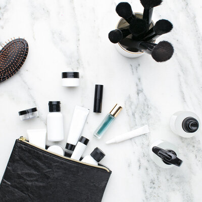 skincare in a bag with brushes