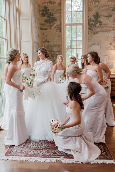 Birmingham Alabama Shoal Creek Wedding with bride in a Monique Lhuillier lace long sleevedWedding dress