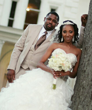 Beautiful couple after the wedding at the Augusta Manor in Greenville, SC