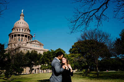 engagement photo by the capital in austin texas by stephane lemaire photography