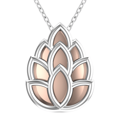 sterling silver & light pink enamel pinecone necklace