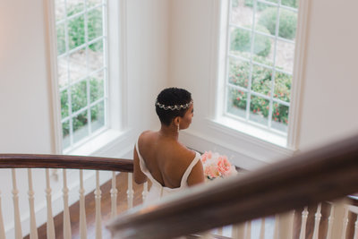 African American Bride Posing on Stairs