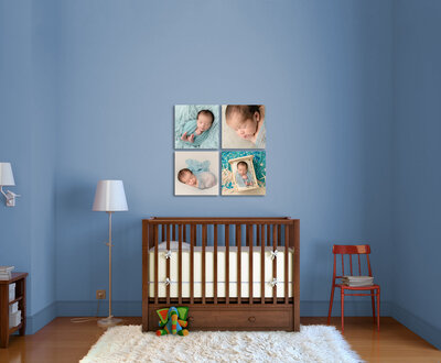 wall art display above an infant crib