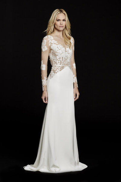 Hayley Paige bridal gown - Ivory long sleeve lace sheath bridal gown, illusion bateau neckline with V-front and keyhole back, piping detail and sheer lace accent at hip, slim silk crepe skirt.