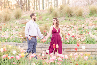 Bright and airy engagement portrait at State Botanical Garden of Georgia in Athens by Jennifer Marie Studios, Atlanta wedding photographer