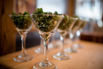 Martini glasses filled with salad