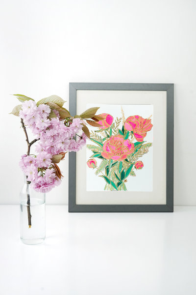 wood burned on paper pink peony in frame