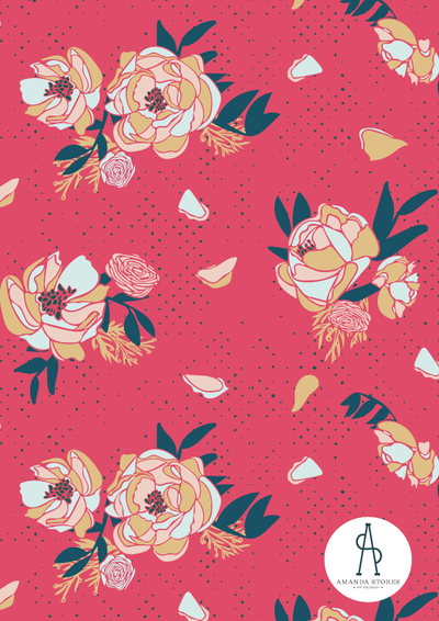 Peonies pattern on red background witht textured dots