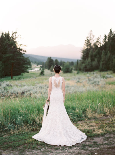 Back of Bride in BHLDN Lace Gown in Montana