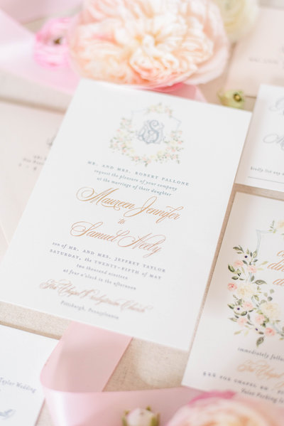 Blush Pink Dusty Blue Rose Gold Wedding Invitation