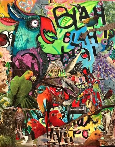 Phaedra Dahl-Blah Blah Blah-18x24in-acrylic and collage on paper $175