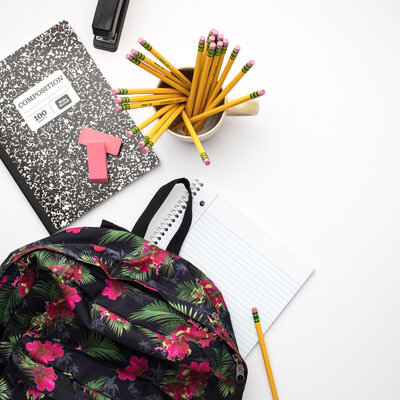 backpack, pencils, notebook
